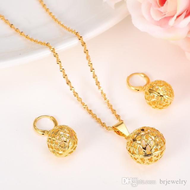 Bangrui Collana con pendente a forma di ciondolo a sfera Orecchini a catena Set per collane con collane di gioielli in oro