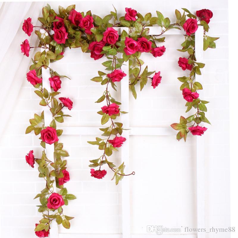 Acessórios de decoração para casa Falsos Rosas De Seda Hera Videira Flores Artificiais guirlanda de vime Com Folhas Verdes Decorações de Casamento Pendurado Guirlanda