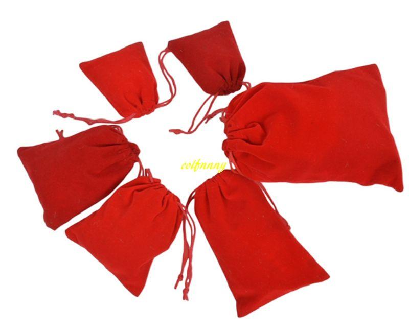 1000 pçs / lote 5 * 7 cm 7 * 9 cm 8 * 10 9 * 12 cm 10 * 12 10 * 15 cm 12 * 15 13 * 18 15 * 20 cm 17 * 23 cm 20 * 30 cm Red Velvet Cordão Bolsas Sacos de Presente de Jóias