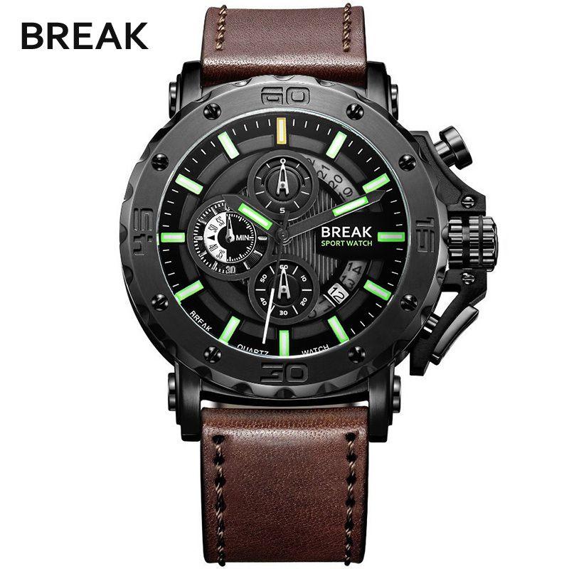 BREAK 5689 Erkekler Lüks Deri Kayış Rahat Moda Chronograph Aydınlık Iş Spor Kuvars Saatı Adam Askeri Izle