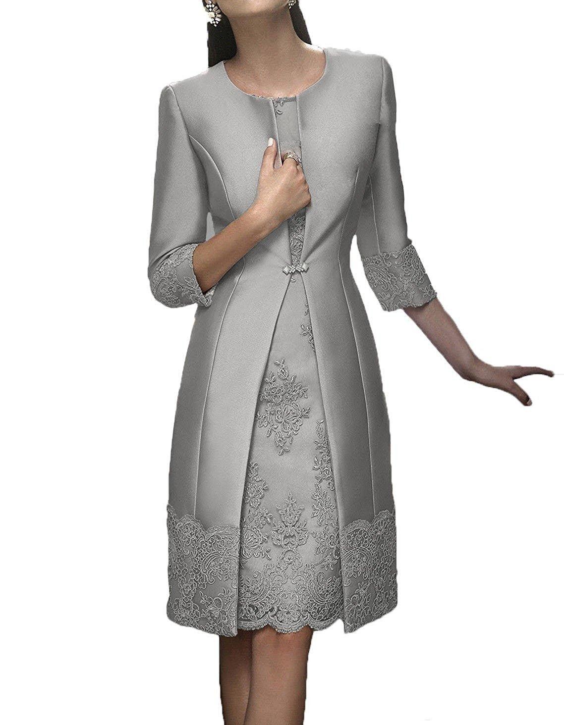 Großhandel Elegante Knielange Mutter Der Braut Kleider Abendgarderobe Mit  Jacke Satin Lace Party Hochzeitsgast Kleid 16 Mutter Anzug Kleider Von
