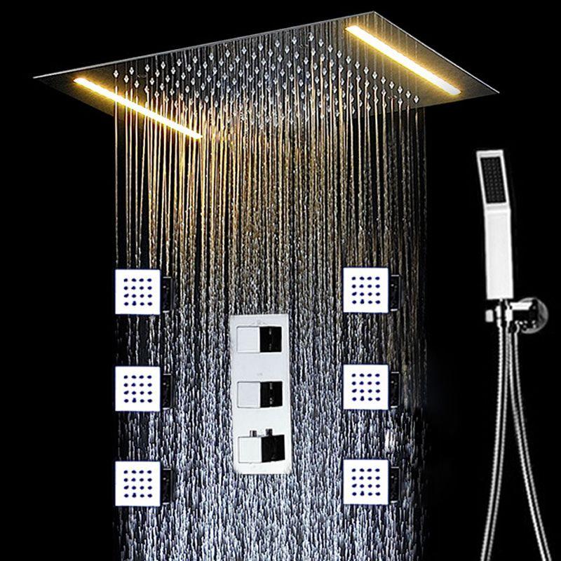 밸브 / 손 샤워를 혼합 Conealed 천장 큰 강우 목욕 샤워 꼭지 세트 전기 LED 마사지 샤워기 온도 조절