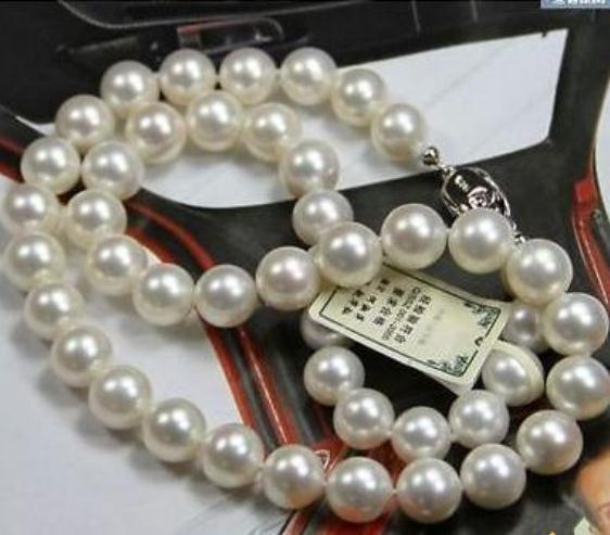 Классический 10-11 мм натуральный Южной море белый жемчуг ожерелье 19 дюймов 925 серебряная застежка