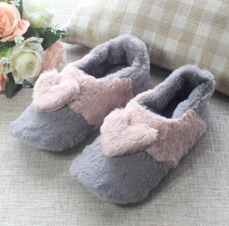2018 automne et hiver nouvelle couleur assortie pantoufles en peluche amour maison femmes coton pantoufles livraison gratuite