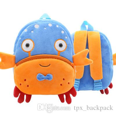 Crab backpack Cute shape toy day pack Little child school bag Kids packsack Plush rucksack Sport schoolbag Outdoor daypack