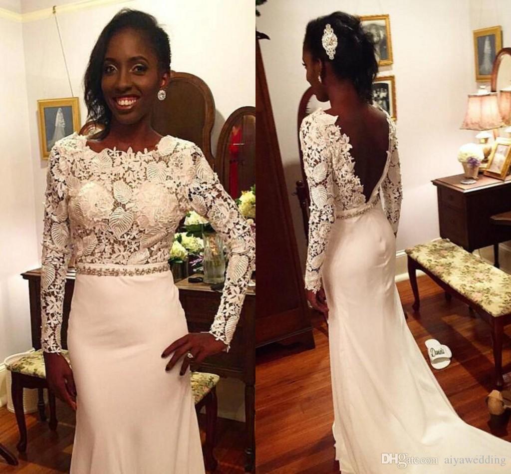 Modest Lace Branco Mangas Compridas Sereia Backless Vestidos de Casamento Africano Estilo Sexy Frisado Coluna Cinto Longo Vestidos De Novia Vestidos de Noiva