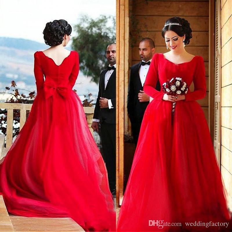 Charmig röd A-Line Bröllopsklänningar Scoop Neck Long Sleeves Tulle Kjol Anpassade BRIDALKAKAR MED BACK BOW OCH TRAIN