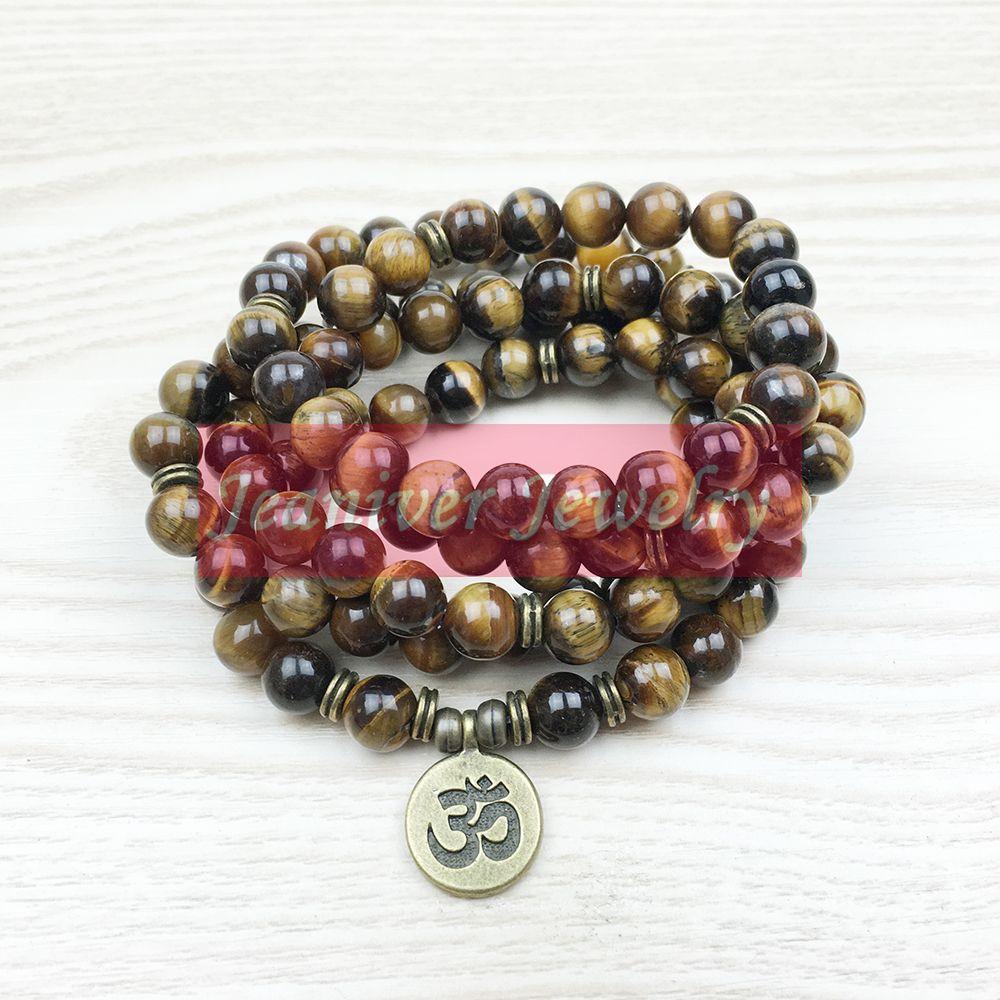 Fashion Tiger Eye 108 Mala Bracelet OM Bouddha Collier Yoga Bracelet 4 Wrap Natural Stone Bracelet NS1148