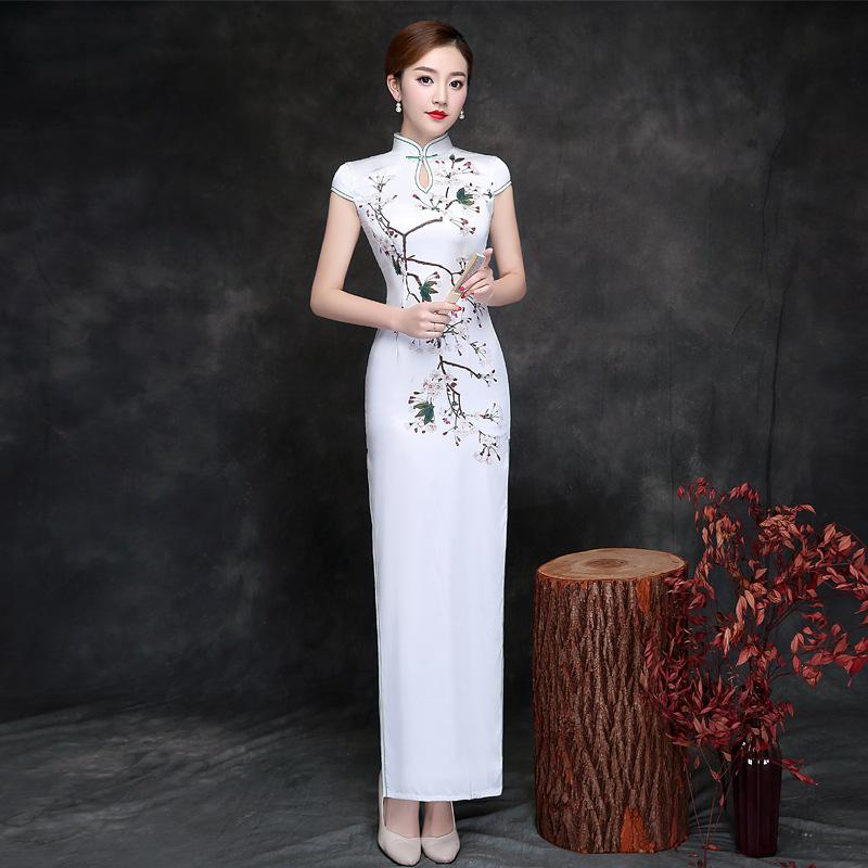 Chinese Traditional Long Silk Dress Women Elegance Long Cheongsam Lady Party Silk Qipao Print Flower Wedding Party Dresses 90