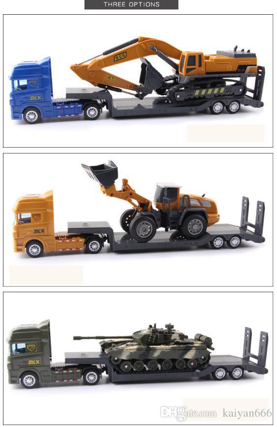 Crianças brinquedo carro, tanque de escavadeira veículo de engenharia veículo modelo de simulação de transporte, menino reboque Brinquedo plana