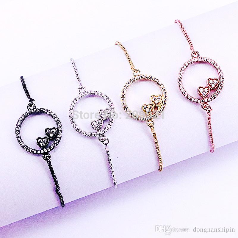 10Pcs High Quality Heart Bracelets Jewelry Charm CZ Micro Pave Round Shaped Connector Bracelets Adjustable