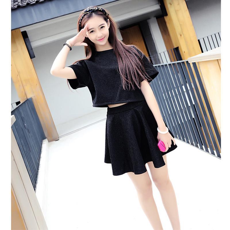 Nueva ropa de verano 2018, versión coreana, estudiantes femeninos, suelta, blusa, blusa, camiseta, vestido de manga corta, dos trajes.