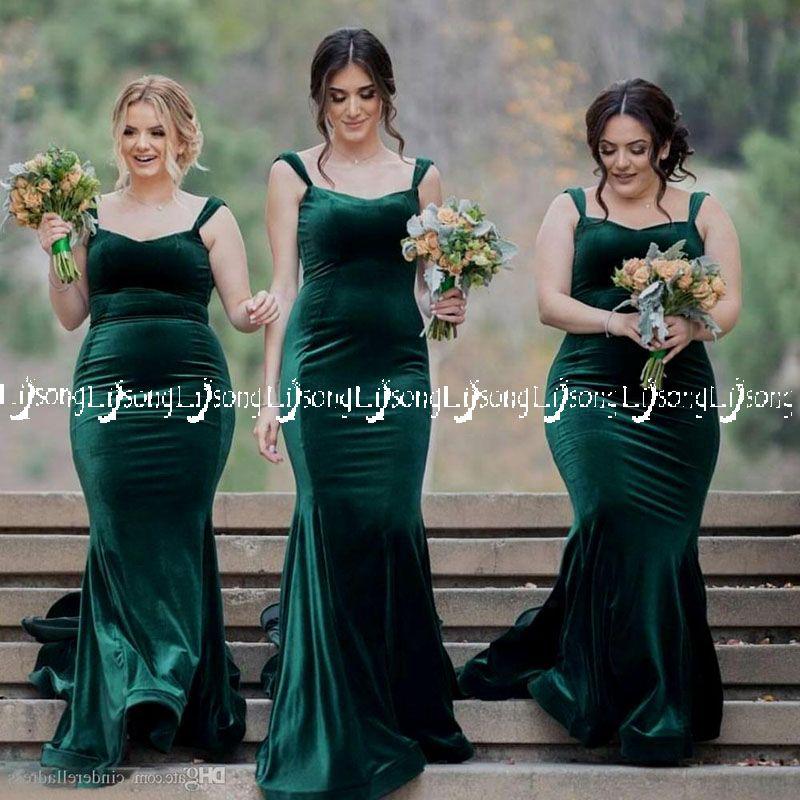 Inverno autunno smeraldo abito da damigella d'onore velluto vintage elastico plus size damigella d'onore sorella maxi abiti lunghezza del pavimento Greenslae su misura