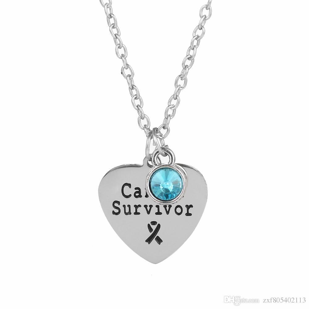 Atacado 10 pçs / lote Cancer survivor Gravado pingente de colar de aço Inoxidável pingente colar Birthstone charme colar de jóias presente