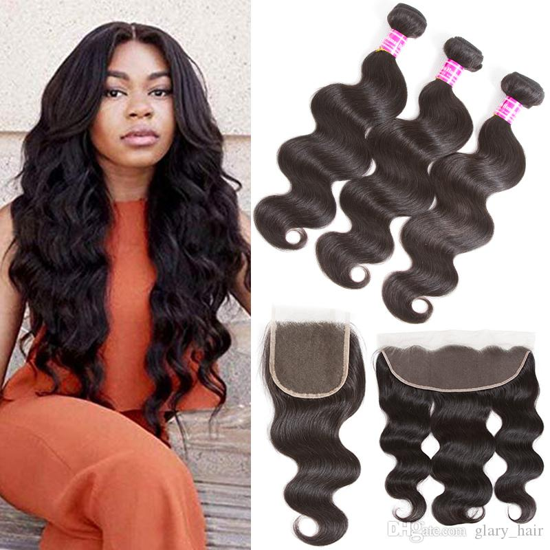 8A Body Wave Indian Virgin Hair Bundles with 4x4 Lace Closure Indian Brazilian Human Hair Extensions Peruvian Remy Hair Body Wave Factory