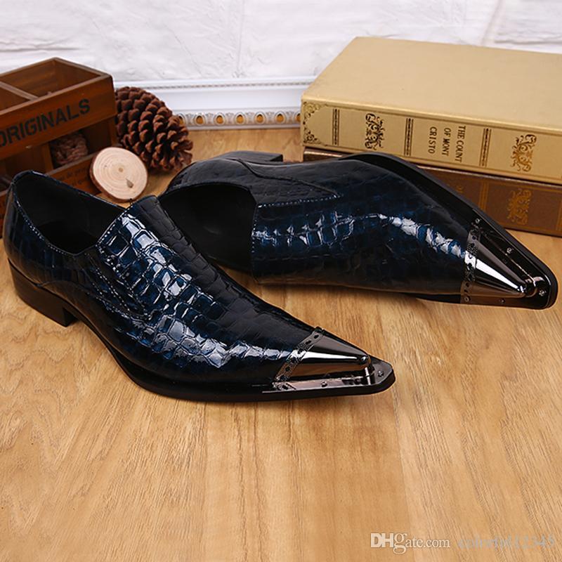 Весна Осень Chaussure Аллигатор Человек кожаные ботинки партии скольжению на оксфорды Metallic Toe Синий мужской деловой Формальные обувь