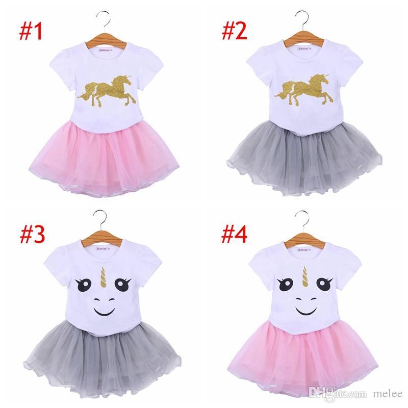 Ins Unicornキッズベビーガールズ衣装服漫画Tシャツトップス女の子チュチュールスカートドレス女の子スーツ服2pcセット6スタイル選択