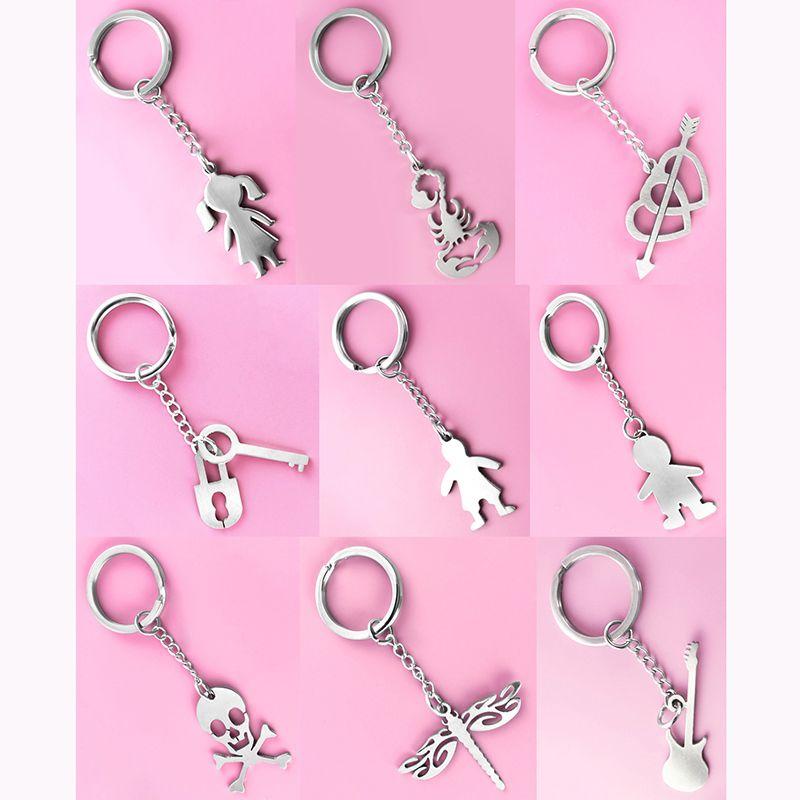 Stainless Steel Key Chains & Pendant Mix 9 Styles Boy Girl Scorpion Heart Love Arrow Key Lock Skull Dragonfly Guitar Unisex Keyring (JK026)