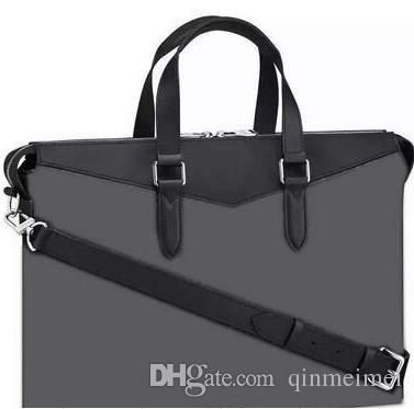 Классические фирменные мужчины Черная буква Explorer Портфель M40566 Сумки Джентльмен Черный Кожаный Сумка Ноутбука Мужской Плечо Портфон