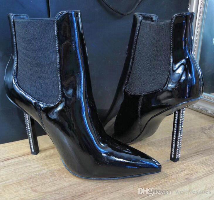 2018 завод реальный ПОС новый патент прибытия кожаные ботильоны алмазов пятки точки носок пинетки Mujer лодки скользят по мартеновских сапоги тонкий каблук