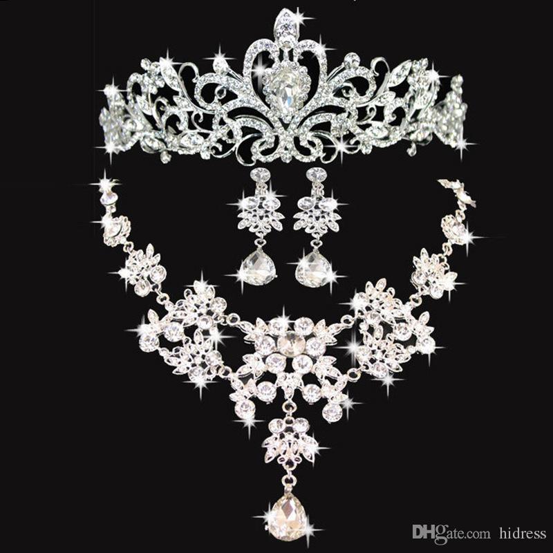 الزفاف لامع الزفاف الاكسسوارات الزفاف حقائق مجوهرات اكسسوارات الزفاف اكسسوارات مجموعة شحن مجاني (تاج + قلادة + أقراط)