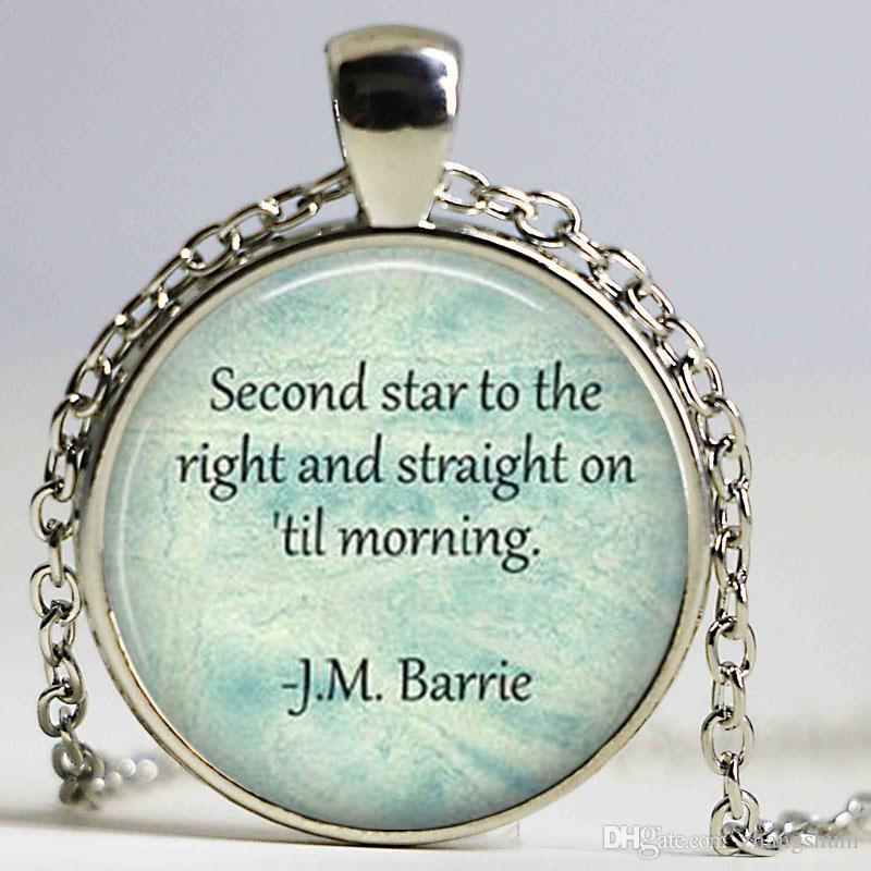 Peter Pan Necklace Second Star to the Right on Till Moring Quote Pendant Literary Neverland Neckalce Fashion Jewelry Gift
