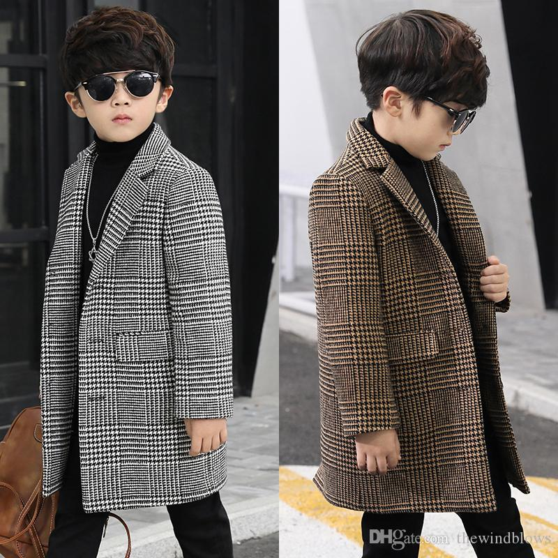 Boys wool coat fashion single-breasted plaid small suit in the long section children's coat casual boy woolen coat new winter