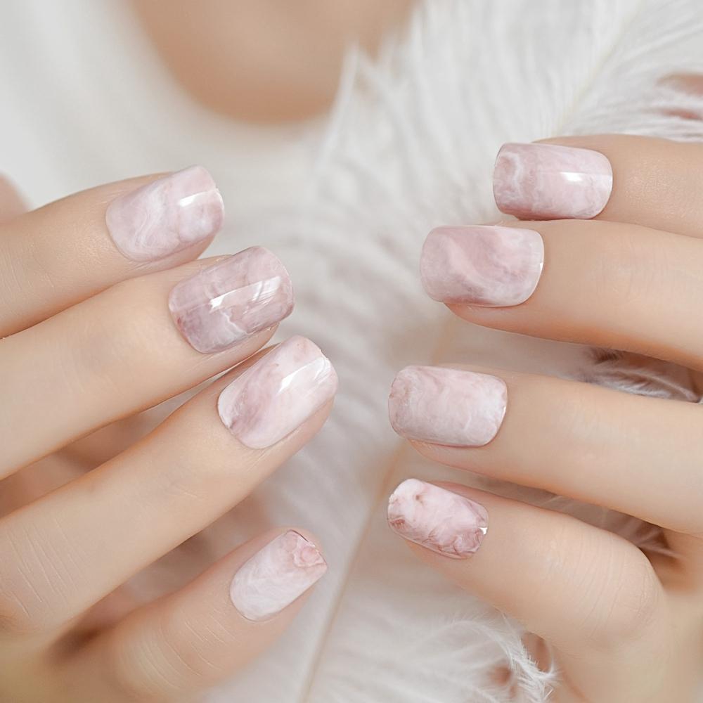 Light Pink Marble Shiny Nail Tips Kit Short Square Oval Popular Fake Nails Mirror Full Cover Finshed Uv Salon Nail Z960 Canada 2019 From Xiatian3 Cad