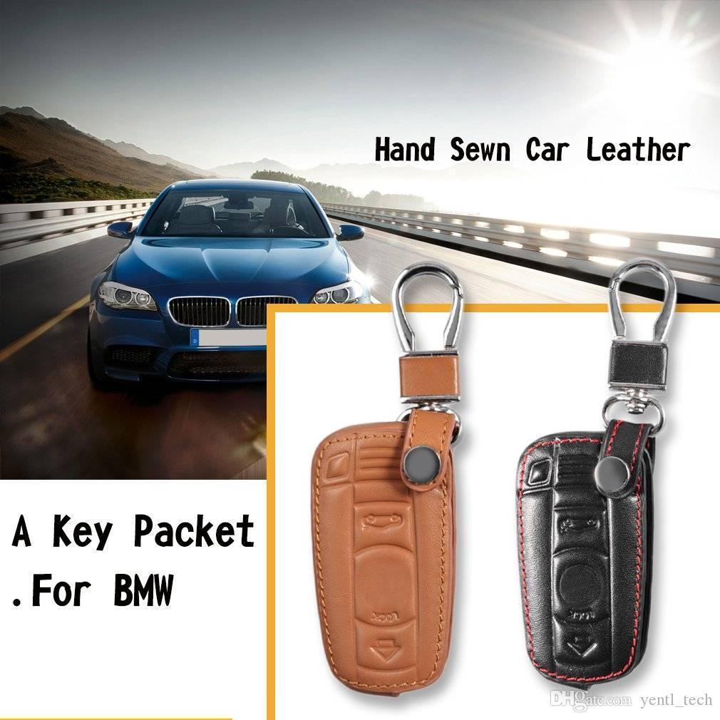 Livraison gratuite Etui porte-clés en cuir style Auto Organizer Keychain Un cuir de style de voiture clés Organisateur Porte-clé couvercle de protection sac pour BMW