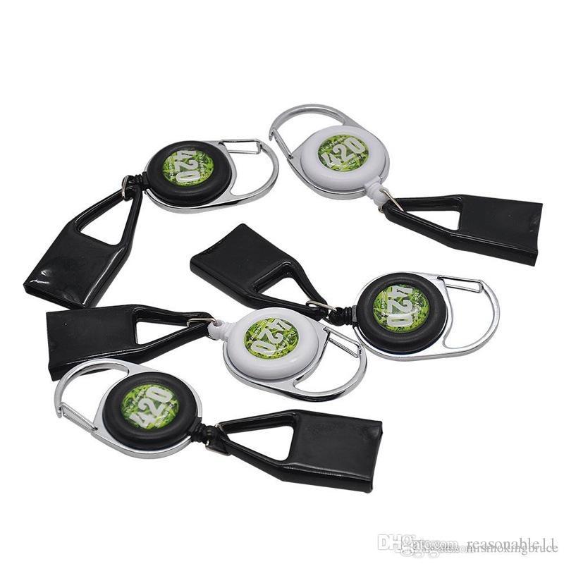 Lighter Leash Safe Stash Clip Retractable Keychain Smile Face Lighter Holder CIGAR CUTTER BLUNT SPLITTER Free shipping