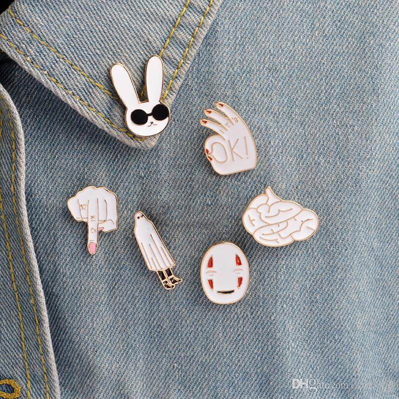 Эмаль булавки белый кролик маска рисунок знак мозга милый мультфильм броши контактный значок женщины ювелирные изделия девушка ребенок подарки