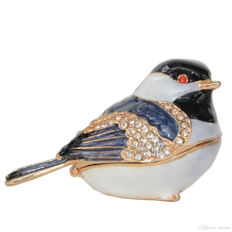 Chickadee Bird Trinket Jewelry Box Enameled Box Crystals Figurine Bird Decor Gifts Necklace Holder