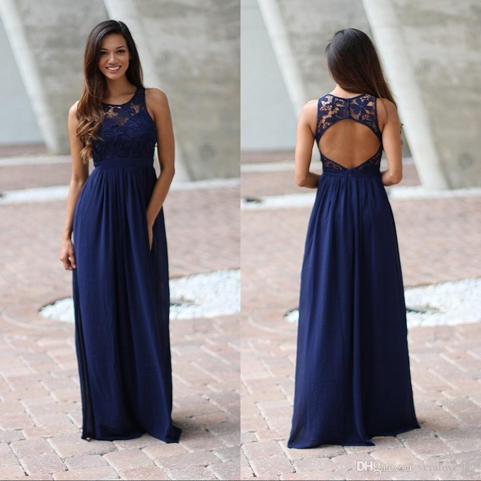 2018 Empire Country Blu Navy Top in pizzo abiti da damigella d'onore Chiffon Backless Chiffon Illusion Piano Lunghezza Abito da sposo junior