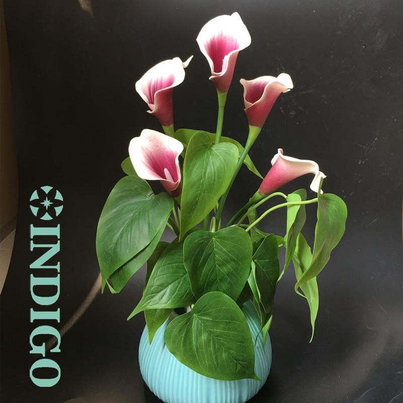 2020 Indigo Calla Bouquet Leaves Flowers Roots Real Touch Flower Calla Wedding Table Decoration From Chinasmoke 14 81 Dhgate Com
