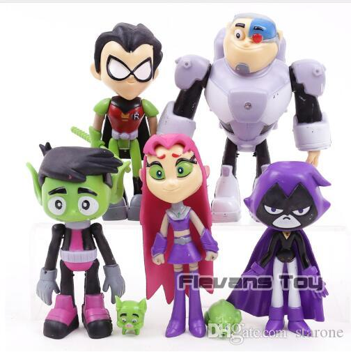 7Pcs Teen Titans Go Robin Cyborg Beast Boy Raven Starfire Action Figure Toy