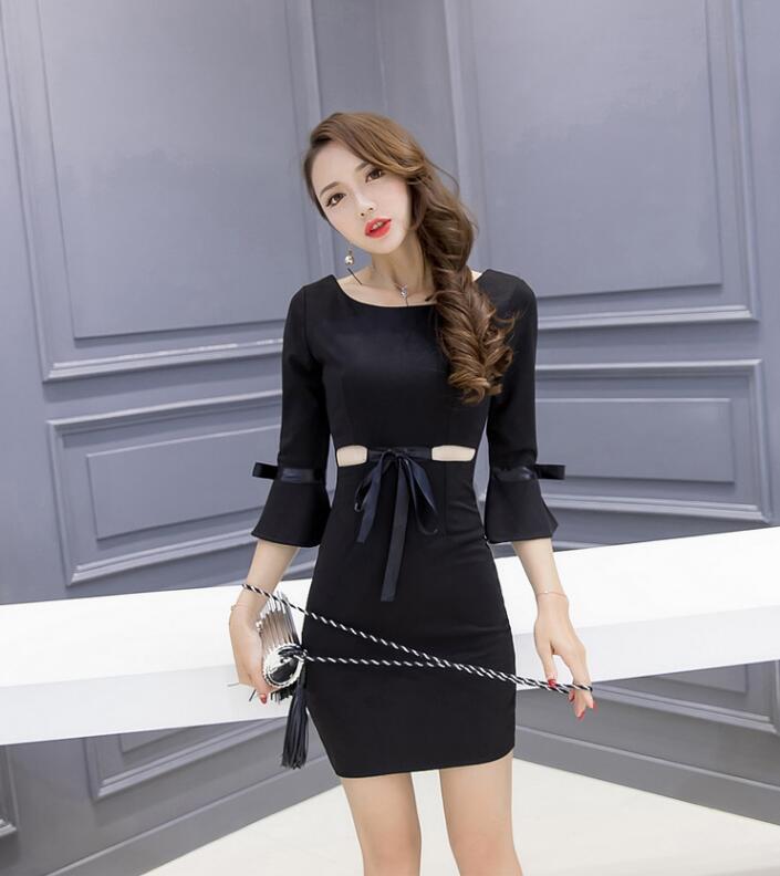 2019 새로운 패션 기질 허리가 긴 스타일의 스커트 랩 엉덩이 추세 섹시한 허리 공개 플레어 소매 드레스 활