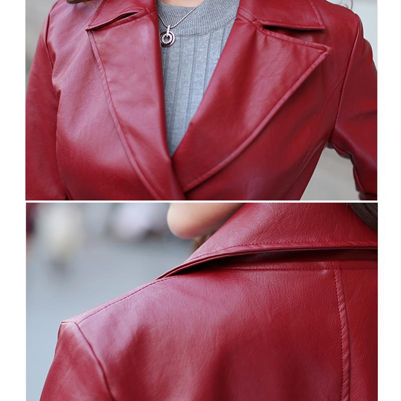 Großhandel Herbst PU Kunstleder Damen Windbreaker Mantel 2018 Mode Über Das Knie Lange Stil Frauen Kunstleder Mantel Von Hongxigua, $78.7 Auf