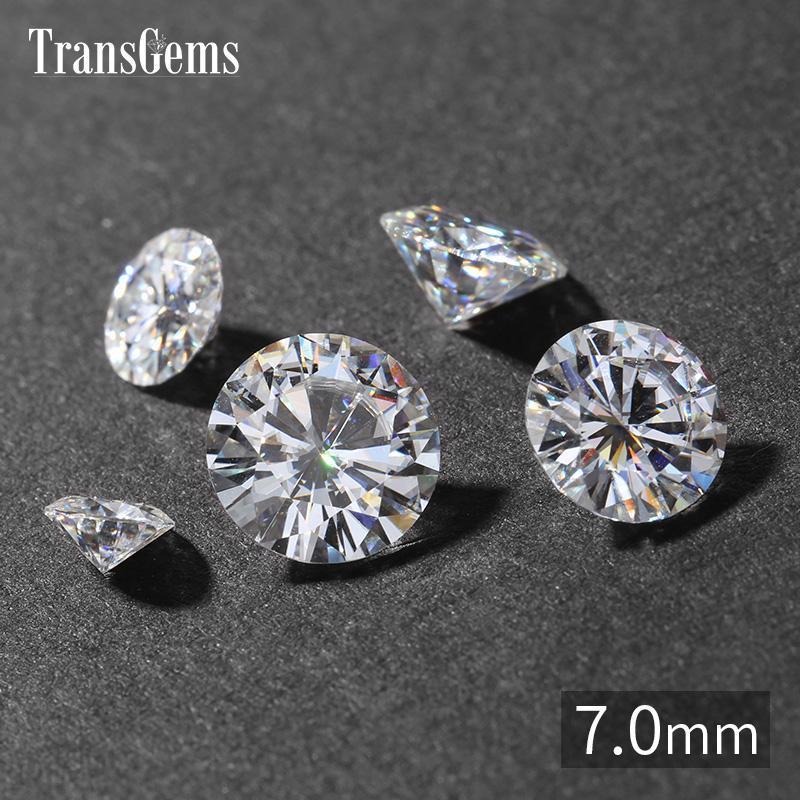 TransGems 7 مم 1.2 قيراط GH لون معتمد مختبر نمت الماس المويسانتي فضفاض الخرزة اختبار إيجابي والأحجار الكريمة الماس الحقيقي