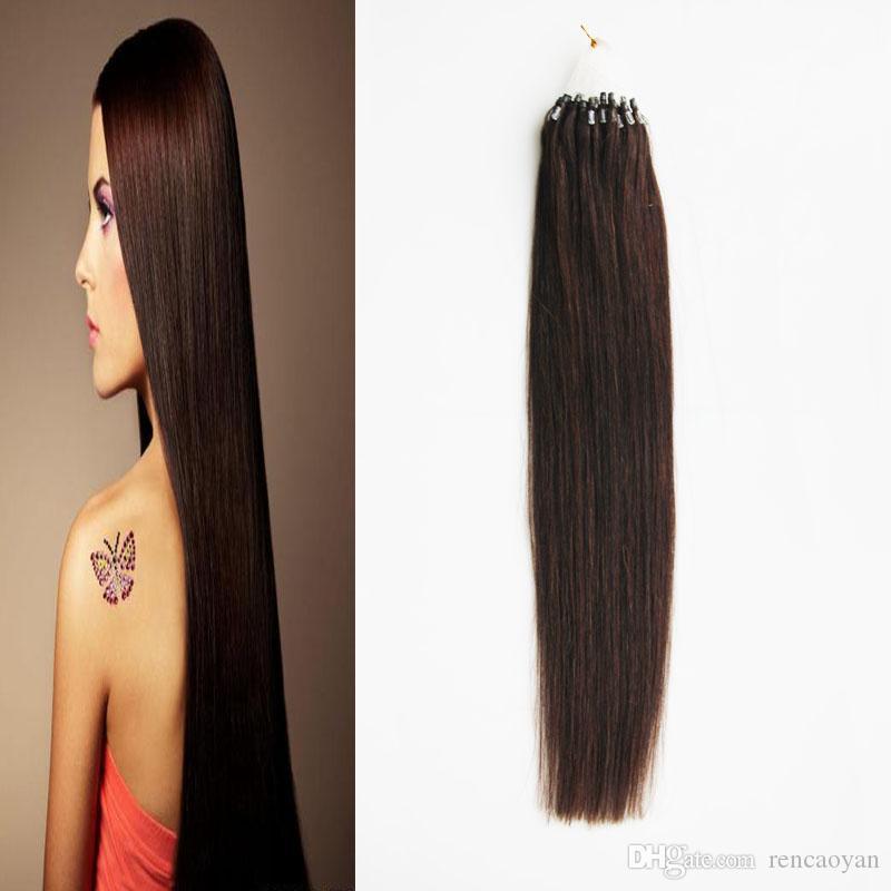 Extensões de cabelo brasileiro do cabelo do anel do laço do cabelo reto do Virgin micro extensões do cabelo da ligação micro de 100g micro