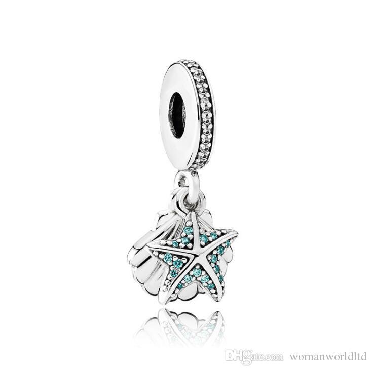 Pandor Étoile de mer Pendentifs Big Hole perles en vrac de bricolage 925 Fabrication Bijoux Silve Charm Bracelet Bijoux Faire partie cadeaux