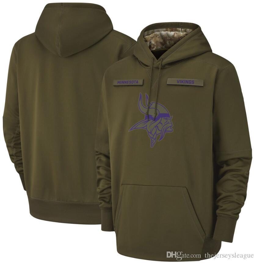 best service 8bec2 6399b 2018 men Minnesota Sweatshirt Vikings Salute to Service Sideline Therma  Performance Pullover Hoodie Olive
