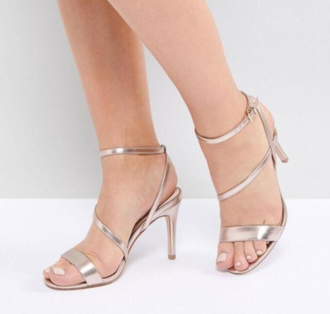 2018 mulheres sexy Champagne ouro sapatos de salto alto partido sapatos de sandálias de dedo aberto sandálias de lantejoulas gladiador de couro 10 cm calcanhar sapatos de casamento
