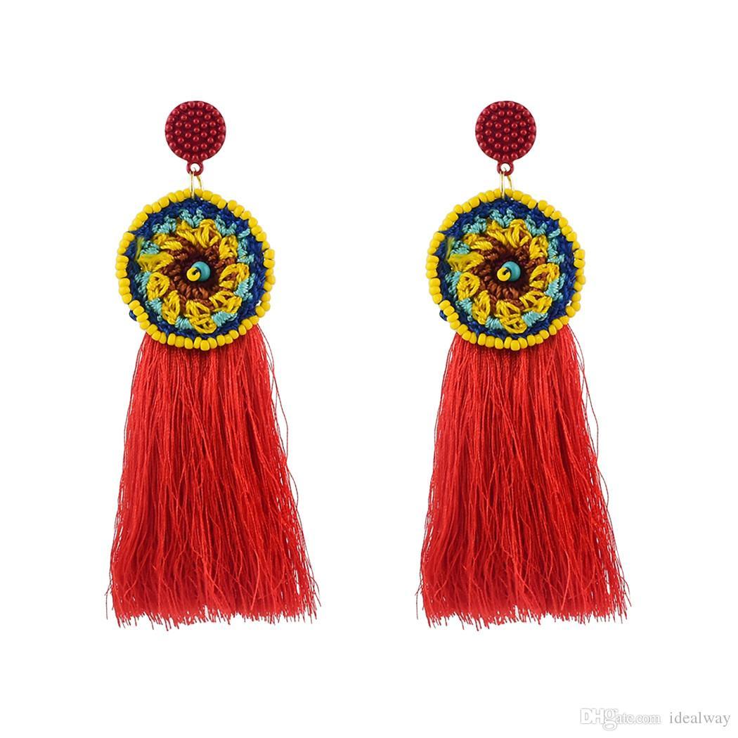 Idealway الموضة الجديدة اليدوية خيوطها الموضوع الشرابة هامش طويل إسقاط أقراط بيان مجوهرات