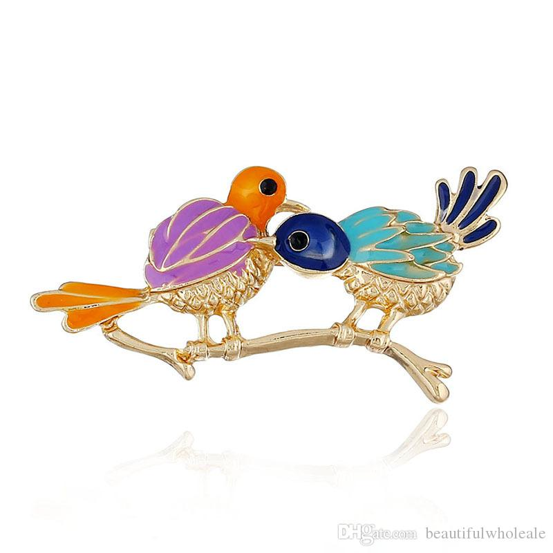 Nouvelle arrivée coloré mignon oiseau cardamome broche poitrine En gros Mode Mental Noël Femmes enfants noël Bijoux Cadeaux Broche