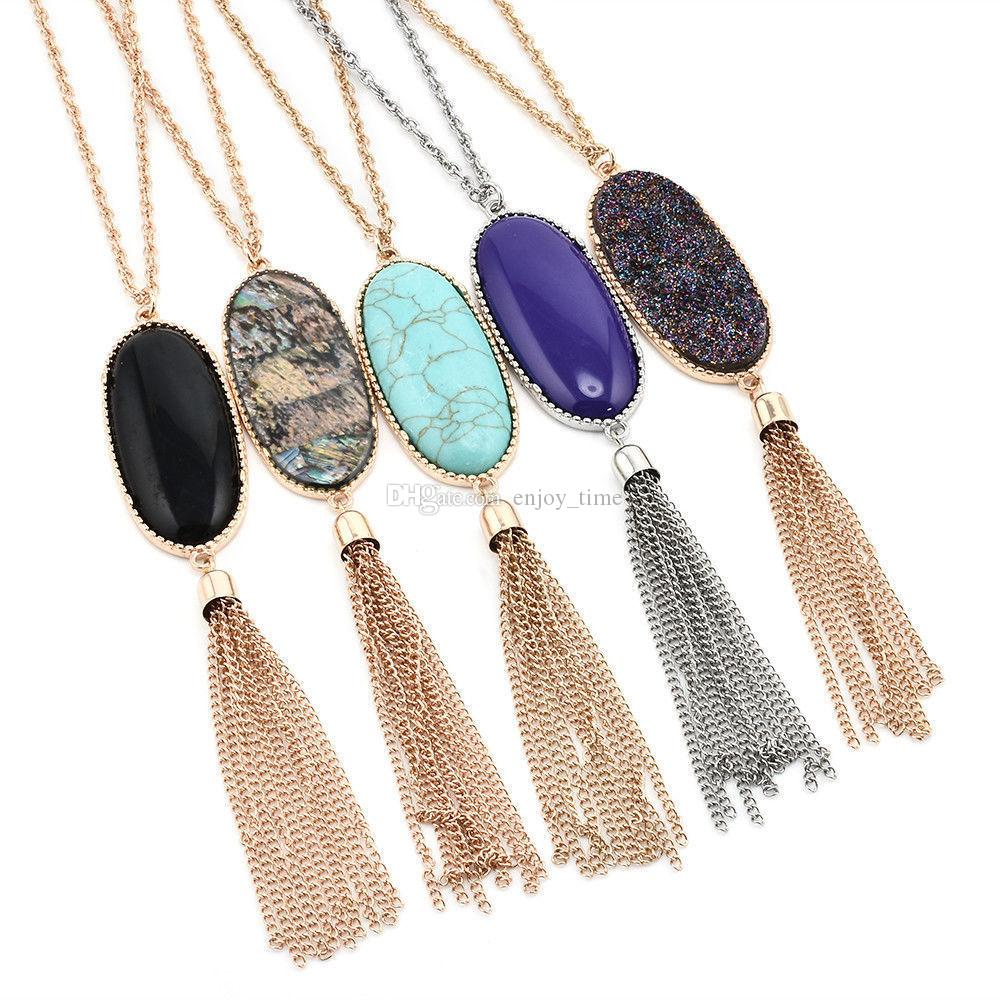 Natural Stone Abalone Shell Turquoise Tassel Druzy Necklace Gold Color Long Chain Bohemia Pendant Necklaces For Women