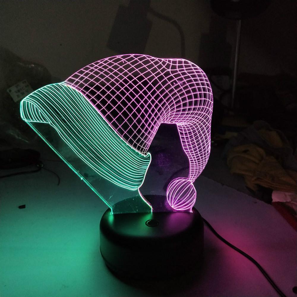 Sombrero de la Navidad Modelo doble del color 3D Luz nocturna LED de luz en color mixto santa de Navidad Claus'cap figura juguetes para dropshipping regalo de Navidad