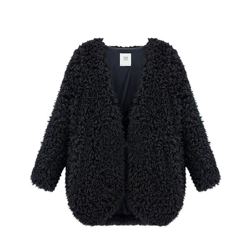 WEIXINBUY Winter New Women Jacket Scialle Outwear Cardigan Tops Fluffy Cotton Mantella