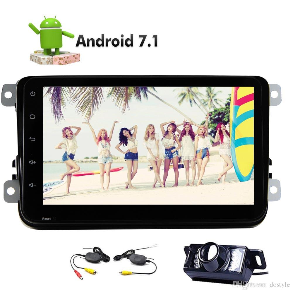 "For Volkswagen Golf Candy Double 2 Din Head Unit Android 7.1 System 8"" 1080p car Video 2GB RAM 32GB ROM Bluetooth Mirror"