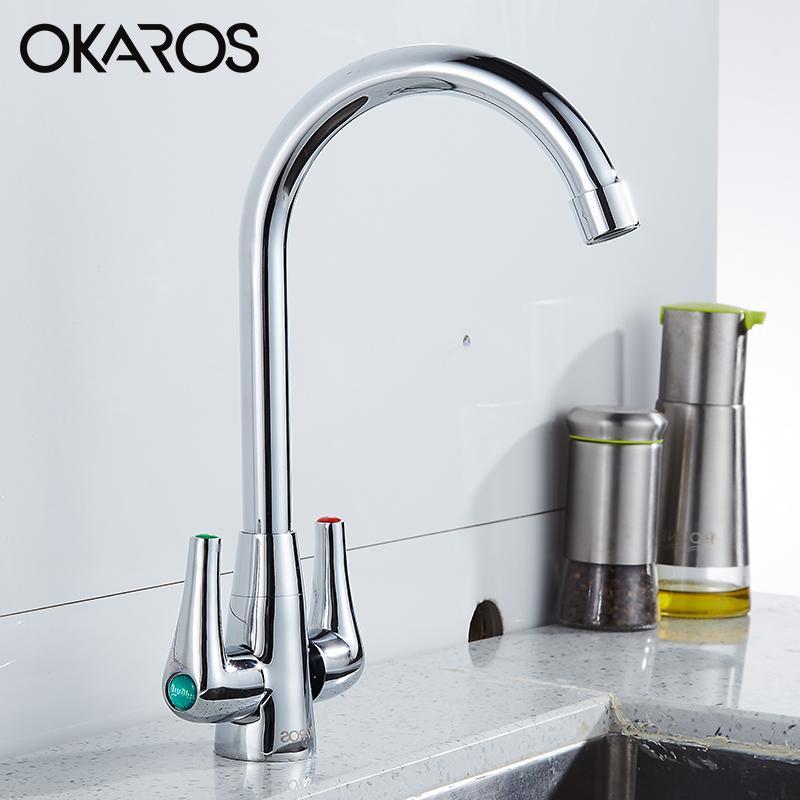 OKAROS Torneira Da Cozinha Lavanderia Pia Torneira Cromada Deck Montado Dupla Alça de 360 Graus Hot WaterTap Fria Mixer