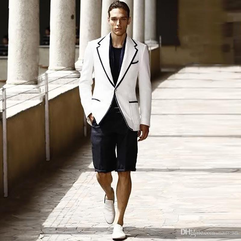 Пользовательские белый Мужские костюмы 2020 Свадьба Черный Короткие Pant Красивый летний костюм Slim Fit Groom Tuxedos Blazer Пром Wear 2 шт куртка + штаны